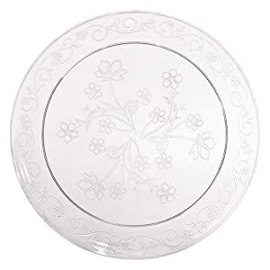 Hanna K. Signature Collection 20 Count D'Vine Plate, 9-Inch, Clear Plastic