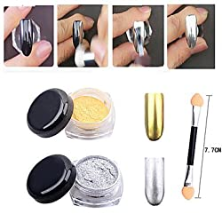 Generic 2pcs Gold Silver Chrome Mirror Powder Dust Pigment Magic Aluminum Nail Sequins Glitters DIY Nail Decoration Tools #05121243