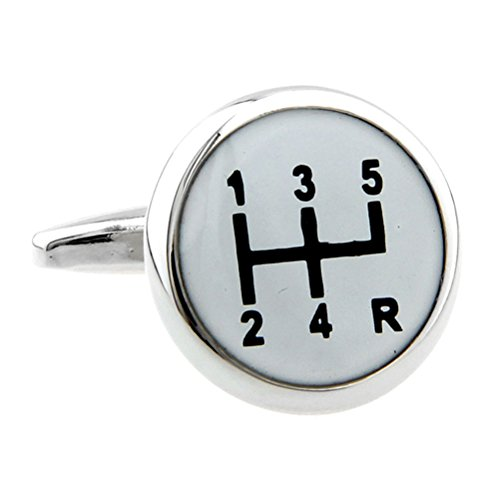 Silver White Gear Shifter Car Auto Racing Groom Marriage Wedding Cufflinks (Gear Shifter Shirt compare prices)