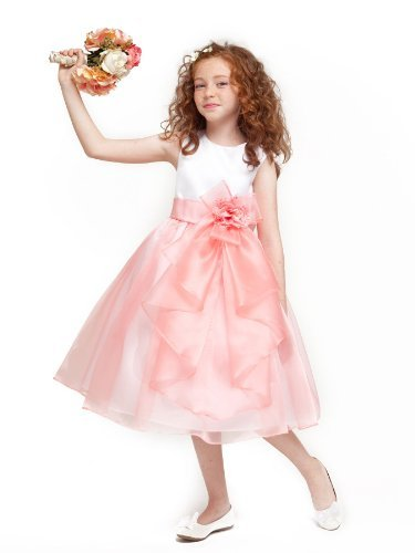 Girls Kid Collection Layered Organza Ruffle Skirt Holiday Christmas Party Flower Girl Dress, Coral, 4