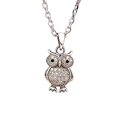 findout sterling silver diamond owl pendant necklace (f1424)