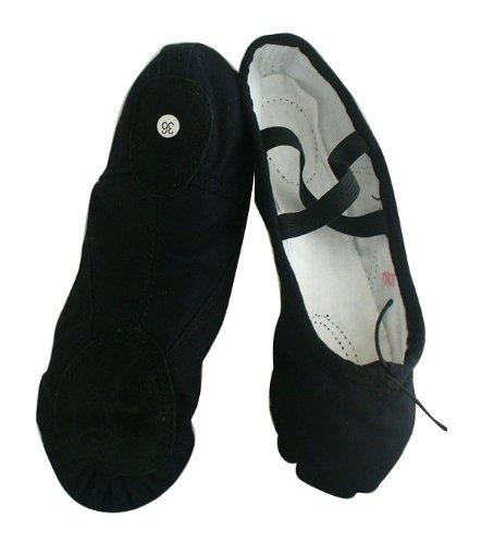 Cheap Black Canvas split-sole Ballet Slippers (B006OHMVCS)