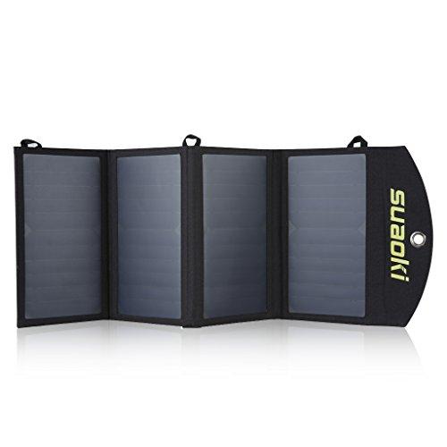 suaoki 25w ソーラーチャージャー モバイルバッテリー 変換効率25%ソーラーパネル 4枚搭載 ポータブル 防水 USB自動検知機能搭載