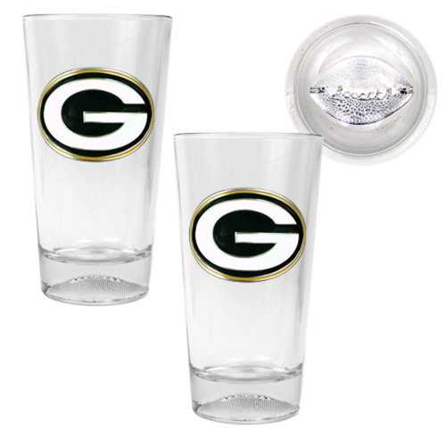 NFL Green Bay Packers Pint Ale Primary Logo Glass Set with Football Bottom (2-Piece), Clear Glass (Green Bay Packer Beer Glass compare prices)