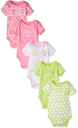 Calvin Klein Baby-Girls Newborn 5 Pack Bodysuit Stretchy, Pink/Green, 6-9 Months