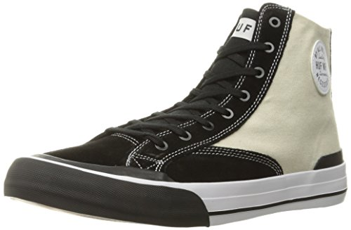 HUF Men's Classic Hi Skateboarding Shoe, Vintage White/Black, 10 M US