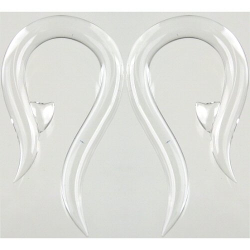 Pair of Glass Hooks: 000g Crystal