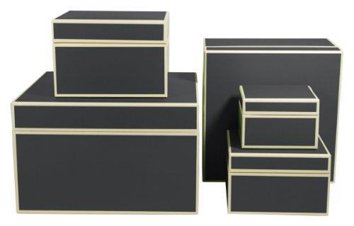 Geschenkschachteln, Satz mit 5 Größen, schwarz