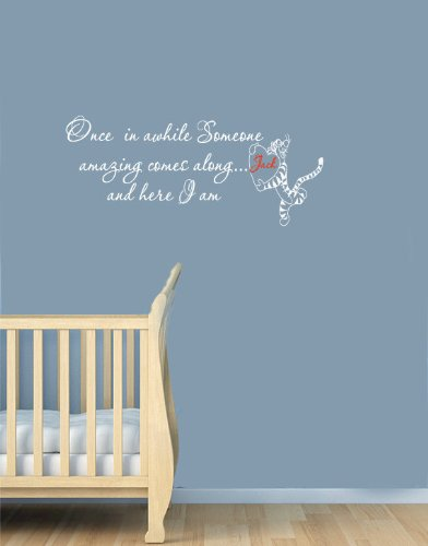 Housewares Vinyl Decal Winnie The Pooh Quote With Name Here I Am Home Wall Art Decor Removable Stylish Sticker Mural Unique Design For Nursery Room front-1012441