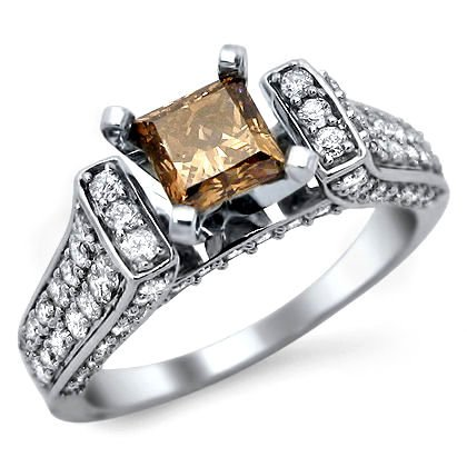 1.70ct Fancy Brown Princess Cut Diamond Engagement