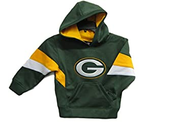 Green Bay Packers Green NFL Kids Stitched Active Pullover Hooded Sweatshirt Size 4 by OuterStuff