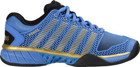 K-Swiss Women's Hypercourt Expr 50th Tennis Shoe, Black/Ultramarine/Gold, 8.5 M US