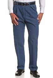 Haggar Men's Work To Weekend Hidden Expandable Waist Denim Pleat Front Pant