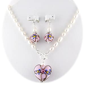 Pink Murano Glass Heart Pendant Freshwater Pearl Lariat Sterling Silver Toggle Necklace Earrings
