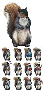Collections Etc - Seasonal Squirrel Dress-Up Magnet Set