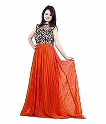 Vadaliya Enterprise Women's Embroidered Orange Gown