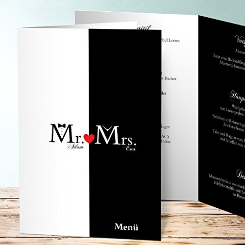 Karten Selber Machen Programm Mac : Hochzeit Menükarten, Mr & Mrs 10 Karten, Vertikale Klappkarte (A5