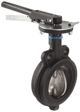 Milwaukee Valve MW222B Series Cast Iron Butterfly Valve, Wafer Style, Nickel Plated Ductile Iron Disc, Buna-N Seat, Lever Handle, Flanged