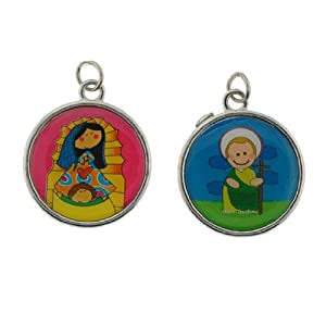 "Children's Religious Medals - Our Lady of Guadalupe and St. Jude Medals with Prayer on Back - ""Virgencita eres la mejor 1000 gracias por todo!"" And ""San Juditas agudame por favorcito con este milagrito...plis"" - Set Includes 2 Medals and One Chain"