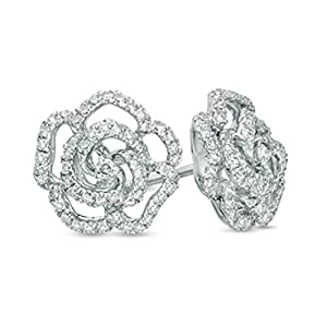 Pretty Jewellery 3/4 CT. Round Cubic Zirconia Flower Cluster Stud Earrings in 10K White Gold Over Sterling Silver