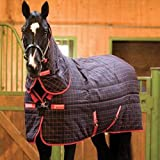 Horseware Rhino Stable Plus Heavy Rug Black & Red Check 6-9