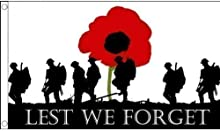 5ft x 3ft (150 x 90 cm) Lest We Forget Poppy Remembrance Day War Heroes 100% Polyester Material Flag