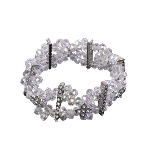 Clear Faceted Crystals Diamond Silver Bracelet Stretchable Stylish front-938017