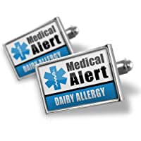 "Neonblond Cufflinks Medical Alert Blue ""Dairy Allergy"" - cuff links for man by NEONBLOND Jewelry & Accessories"