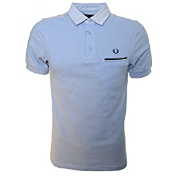 Fred Perry Men\'s Woven Oxford Trim Pique Shirt, Light Smoke Oxford, Large