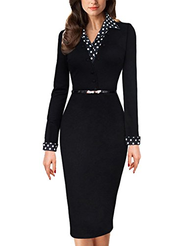 Meikeer Women's Vintage Black Polka Dot Collared Business Party Pencil Dress