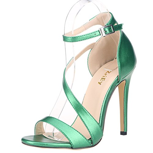 ZriEy Women's Ladies Strappy Thin High Heel Sandals Ankle Strap Cuff Peep Toe Shoes Sexy Comfortable Elegant Grass Green size 10