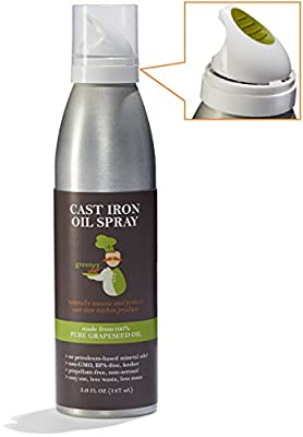 Cast Iron Seasoning & Cast Iron Conditioning Oil with Unique Spray Design Made from 100% Non-GMO Grapeseed Oil | Naturally Seasons All Cast Iron Skillets, Pots, Pans and Cookware | Bottled in the USA
