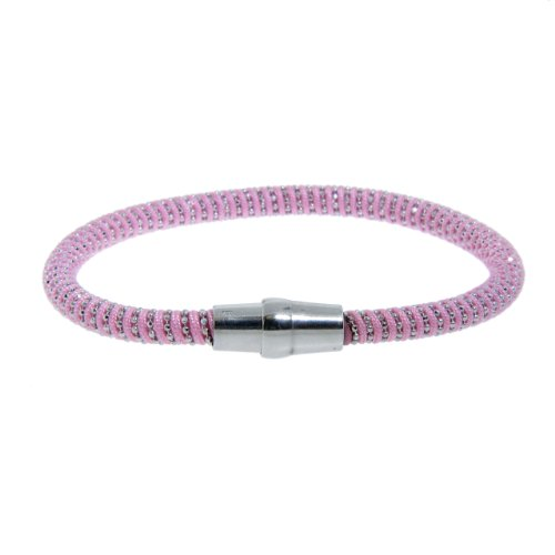 Italian Sterling Silver Diamond Cut Bead on Pink Silk Cord with Magnet Lock, 7.5