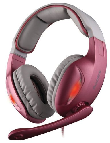 Sades Sa-902 7.1 Surround Sound Effect Usb Pc Gaming Headset W/ Microphone + Volume Control(Pink)