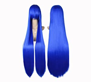 Cosplay peluca azul 80cm 541 traje recto pelo