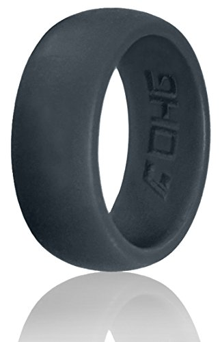 DHG Silicone Wedding Ring Band for Men 8.7mm Wide for an Active Lifestyle Sports and Activity - Made From Premium Quality Non Toxic Medical Grade Silicone (Dark Gray, 9) (Ring Size Chart Online compare prices)