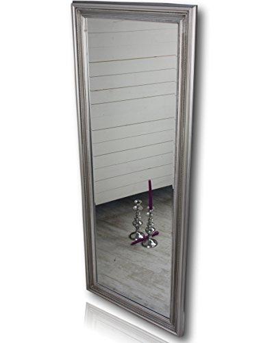 150x60x3cm-Spiegel-silber-antik-mit-Patina-rechteckig-handgefertigt-barock-mit-Holz-Rahmen-und-Wandbefestigung-im-Landhausstil