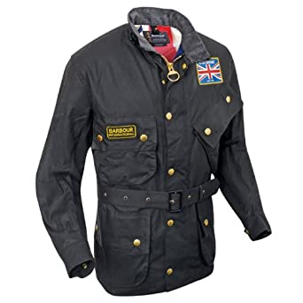 Men's Barbour Union Jack International Waxed Jacket - Black