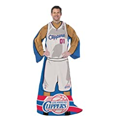 BSS - Los Angeles Clippers NBA Adult Uniform Comfy Throw Blanket w  Sleeves
