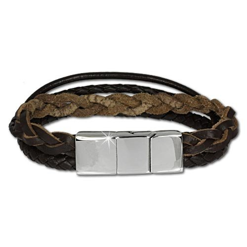SilberDream leather bracelet with brown decorative cords and stainless steel fastener, variable size, leather bracelet genuine leather LAP001B