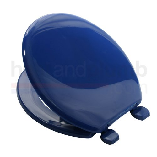 Carrara-Matta-ATLANTIC-BS2-MARINE-BLUE-Coloured-Plastic-Toilet-Seat-and-Cover-with-Adjustable-Plastic-Hinges