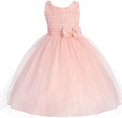 Akidress Ribbon Trimed Texture Top Tulle Overlaid Flower Girl Occasion Dress Pink 2-12