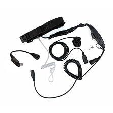 buy Professional Tactique Military Police Fbi Bodyguard Forehead/Throat Mic Microphone Adjustable Volume Ptt Covert Acoustic Tube Earpiece Headset With Finger Ptt For Motorola Gp328Plus Gp344 Gp388 Gp688 Two Way Radio Security Door Supervisor