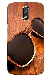 Omnam Black Shades With Wooden Frame On Wood Effect Printed Designer Back Cover Case For Motorola Moto G4