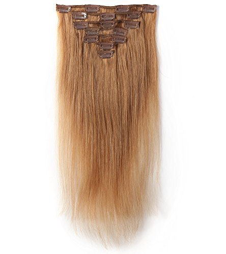 Rosette Hair 18 Inch Straight Human Hair Weft Remy Virgin Hair Clip In Extensions Full Head Hair Extensions Weave Unprocessed Hair 7pcs/set (Color-12) (Hair Extentions Full Head compare prices)