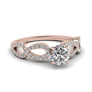 0.65 Ct Round Cut Diamond Cleaved Band Swirl Engagement Ring Pave Set 14K Gold