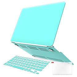 iBenzer - 3 in 1 Multi colors Soft-Touch Plastic Hard Case Cover & Keyboard Cover & screen protector for Multi Sizes Macbook (Macbook Air 13'' Turquoise)