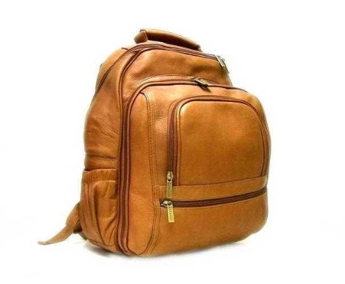 B002K506FC Le Donne Leather Computer Back Pack – Tan