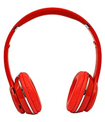 Micomy S-460 Wireless Bluetooth Headphone with Aux cable connector -Red