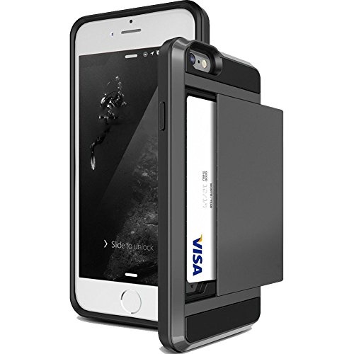 iPhone 4S Case,JOBSS [Card Pocket] iPhone 4S Wallet Case Impact Resistant Hybrid Armor Defender Snap-on Black Soft Rubber Bumper Cover Skin Protective Shell Card Slot Holder for iPhone 4 4S[Black] (Iphone 4s Bumper Black compare prices)